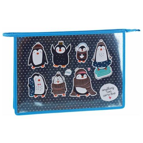 Фото - ArtSpace Папка для тетрадей на молнии Пингвинята A4, ламинированный картон серебристый/голубой artspace папка для тетрадей на молнии пингвинята a4 ламинированный картон серебристый голубой