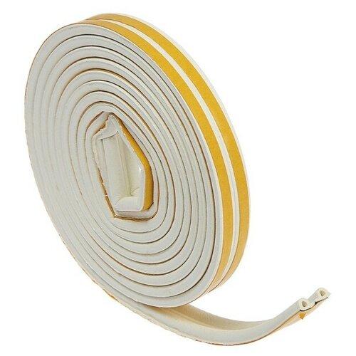 Уплотнитель профиль P, самоклеящийся, вспененная резина TUNDRA белый 6 м