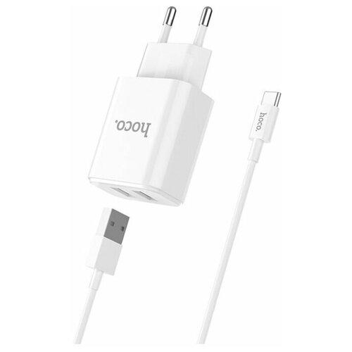 Фото - Сетевая зарядка Hoco C62A + кабель USB Type-C, белый сетевая зарядка hoco c72a glorious кабель usb type c белый
