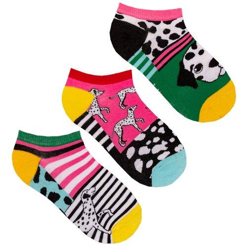 Короткие женские носки lunarable Далматинцы, фуксия, зеленые, ярко-желтые