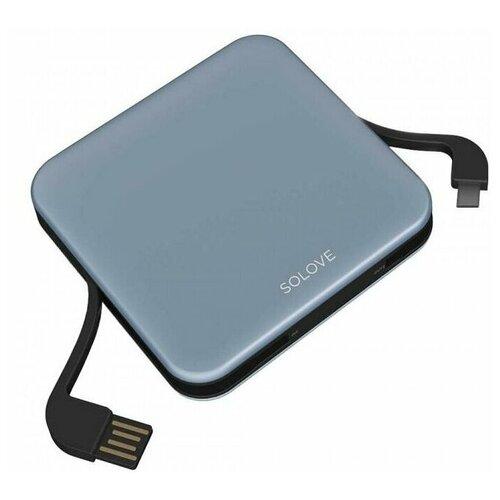 Внешний аккумулятор Power Bank Xiaomi (Mi) SOLOVE 10000mAh со встроенными кабелями USB и Lightning (A2-PRO Grey), серый внешний аккумулятор xiaomi solove power bank 001m 10000mah pink