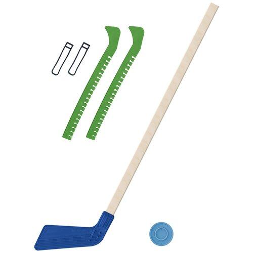 Набор зимний: Клюшка хоккейная синяя 80 см.+шайба + Чехлы для коньков зеленые, Задира-плюс