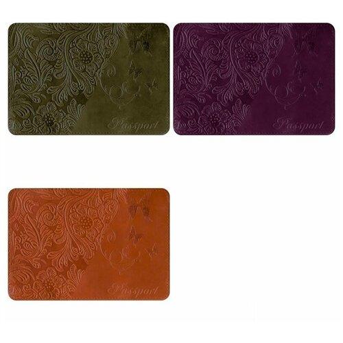 Обложка для паспорта OfficeSpace, натуральная кожа тип 3, тиснение орнамент