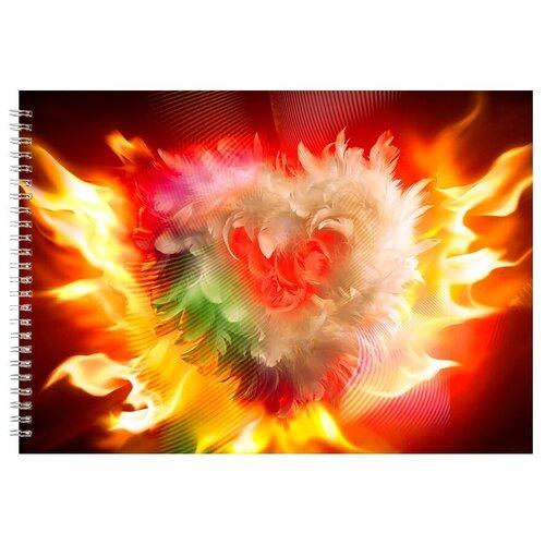 Альбом для рисования, скетчбук Сердце из пера