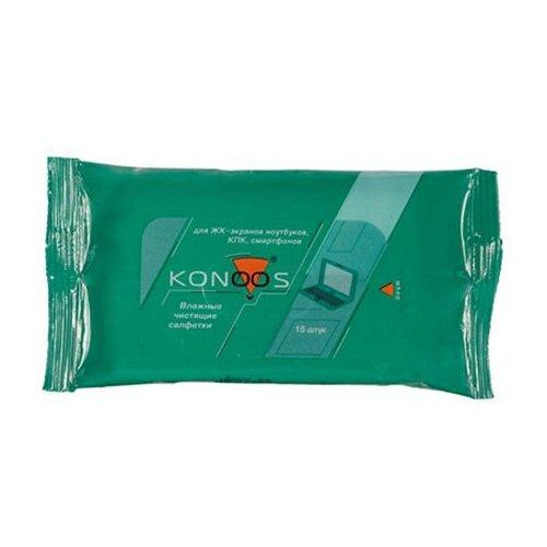Фото - Салфетки Konoos KSN-15 Покетпак 15шт для экранов антибактериальные салфетки для поверхностей nv office мягкая упаковка 180х110 мм 15шт