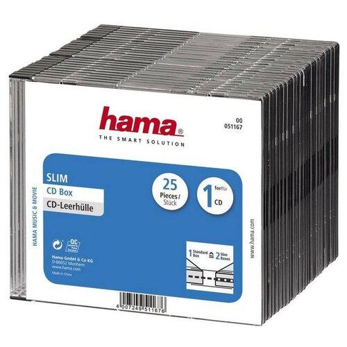 Бокс для CD/DVD дисков Slim Box, 25 шт, Hama, прозрачно-черный, H-51167