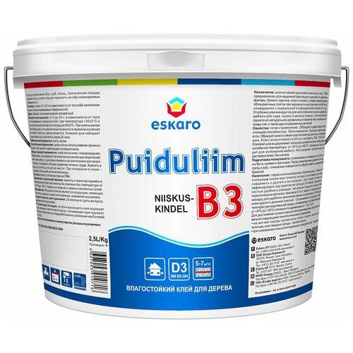 Влагостойкий клей для древисины Eskaro B3 Puiduliim, 2,5л клей мебельный eskaro b 3 влагостойкий 2 5л арт 0716