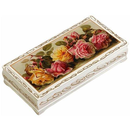 Шкатулка - купюрница «Розы», белая, 8,5×17 см, лаковая миниатюра 3696412 по цене 492