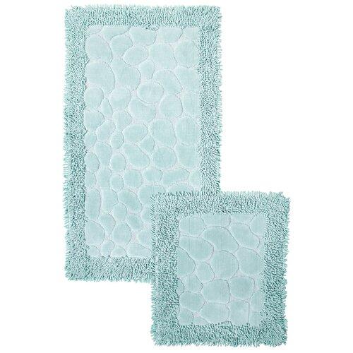Набор ковриков для ванной комнаты Камушки,мятный