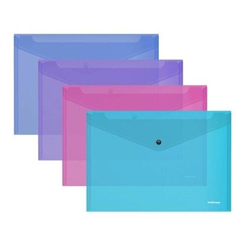 Папка-конверт на кнопке пластиковая ErichKrause Fizzy Vivid, полупрозрачная, A4, ассорти 47043 недорого