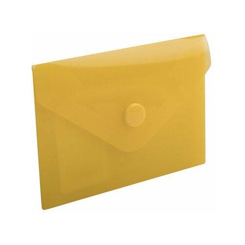 Папка-конверт с кнопкой малого формата (74х105 мм), А7 (для дисконтных, банковских карт, визиток) прозр, желтая, 0,18 мм, BRAUBERG, 227324