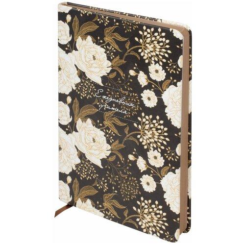 Купить Ежедневник учителя специализированный А5 (215х145мм) BRAUBERG, 144л, кожзам, Цветы на черном, 112707, Ежедневники