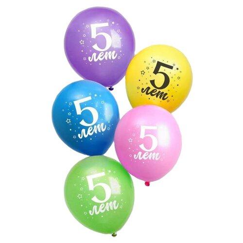 Набор воздушных шаров Страна Карнавалия 5 лет (25 шт.) страна карнавалия набор бумажной посуды с днем рождения маленький джентельмен 3877347 19 шт голубой