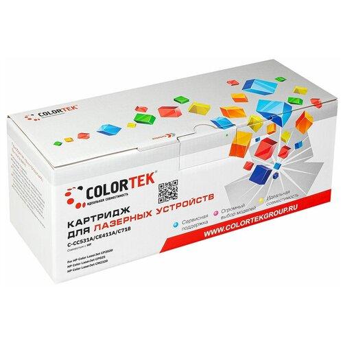 Фото - Картридж лазерный Colortek CT-CC531A/CE411A/C718 голубой для принтеров HP и Canon картридж лазерный colortek ct ar016t для принтеров sharp