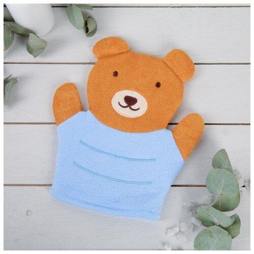 Фото - Мочалка-варежка детская Доляна Мишутка мочалка доляна медвежонок 4442512 коричневый красный