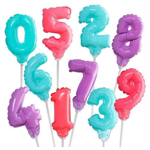 Набор воздушных шаров Страна Карнавалия Цифра 0-9 (10 шт.) серебристый страна карнавалия набор бумажной посуды с днем рождения маленький джентельмен 3877347 19 шт голубой