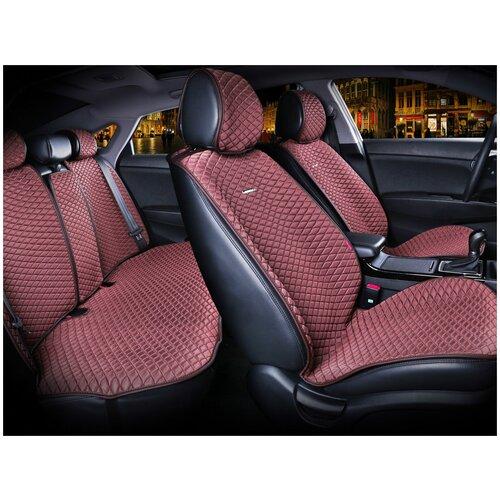 Комплект накидок на автомобильные сиденья CarFashion PALERMO PLUS коричневый/коричневый