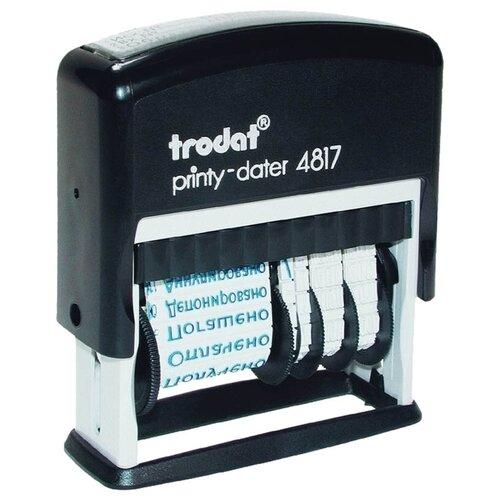 Датер автоматический ленточный Trodat 4817 (45х3,8мм, 1 строка, синий, месяц буквенный, 12 бух. терминов) (80701)