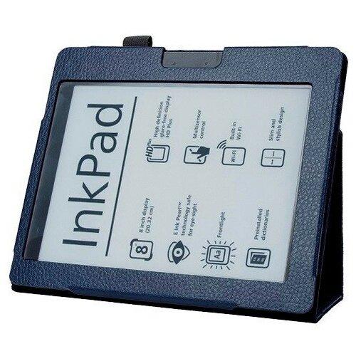 Чехол-обложка MyPads для PocketBook 840-2 InkPad 2 из качественной эко-кожи закрытого типа с магнитной крышкой синий кожаный