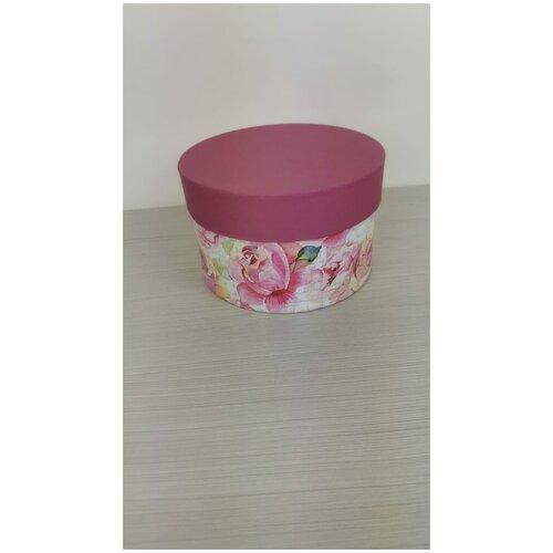 Коробка подарочная круглая 15 х 10 см, пионы, для цветов и подарков. коробка фирменная для упаковки подарков с кофе 25 х 27 х 10 5 см