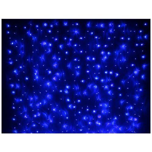 Занавес световой PLAY LIGHT мерцающий, 600 LED ламп, (480 статичных синих/120 мерцающих холодных белых LED ламп), 2x3 м,