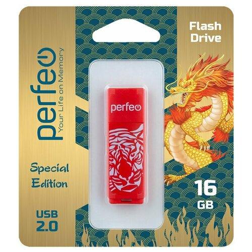 Фото - Флеш Perfeo USB 16GB C04 Red Tiger флешка perfeo c04 16gb black