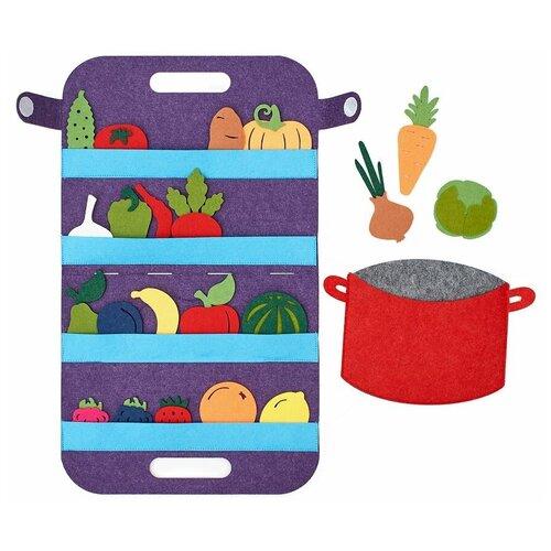 Сумка-игралка Овощи, фрукты и ягоды, SmileDecor (аппликация, Ф272) настольная игра smiledecor сумка игралка овощи фрукты и ягоды