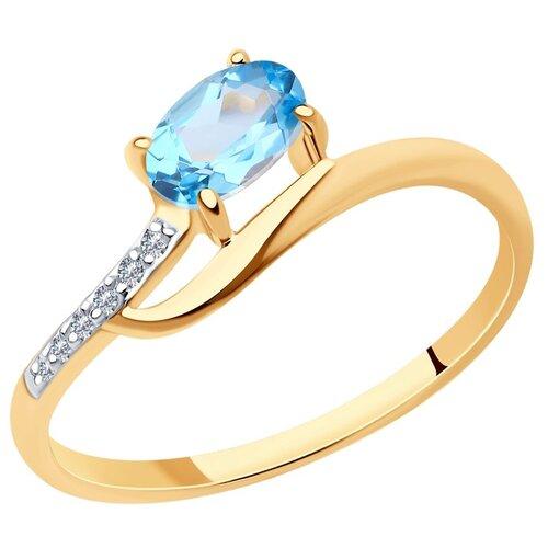 Diamant Кольцо из золота с топазом и фианитами 51-310-01494-1, размер 17 diamant кольцо из золота с топазом 51 310 00971 1 размер 17