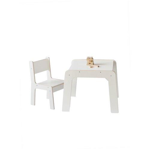 Детский стол и стул, комплект детской мебели стол и стул, белый