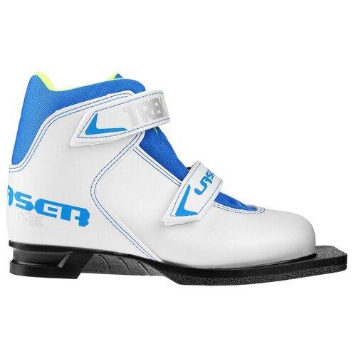 Trek Ботинки лыжные TREK Laser NN75 ИК, цвет белый, лого синий, размер 34
