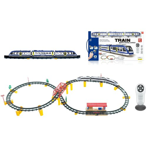 Купить Железная дорога с пультом управления (поезд Синий Экспресс, длина 397 см, свет, звук) - 2807Y-1, CS Toys, Наборы, локомотивы, вагоны