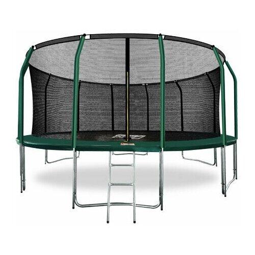 Фото - ARLAND Батут премиум 16FT с внутренней страховочной сеткой и лестницей (Dark green) (темно-зеленый) каркасный батут arland премиум 16ft с внутренней страховочной сеткой и лестницей dark green