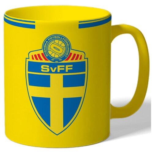 Кружка цветная на тему чемпионата мира по футболу 2018, форма - Сборная Швеции