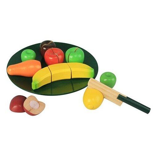 Купить Набор продуктов с посудой Magni Fruit in wood on the plate, with velcro 1239F3 зеленый/желтый/красный, Игрушечная еда и посуда
