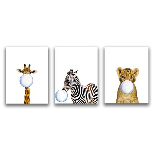 Коллекция из 3-х картин на холсте LOFTime 30х40 жираф зебра львенок С пузырем из жевачки К-021-3040