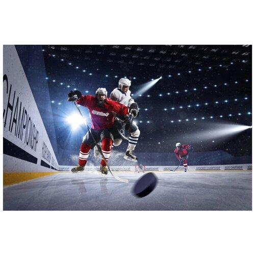 Картина на холсте с подрамником ХитАрт Борьба за шайбу 80x54 см