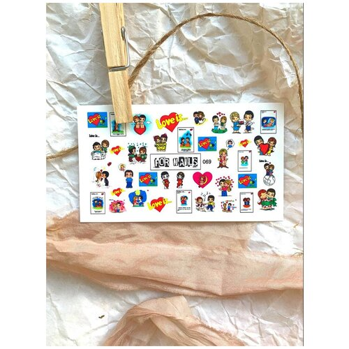 Купить Слайдер (водные наклейки) для дизайна ногтей FN069 Love, FOR NAILS