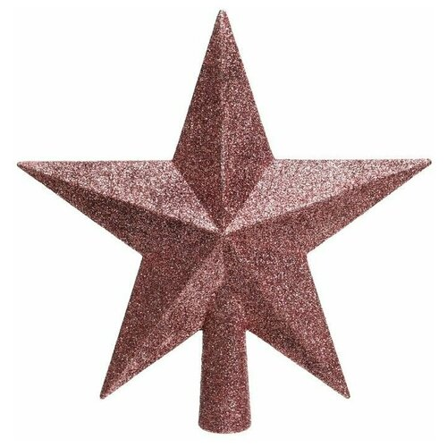 Елочная верхушка звезда делюкс, пластик, глиттер, розовый бархат, 19 см, Kaemingk