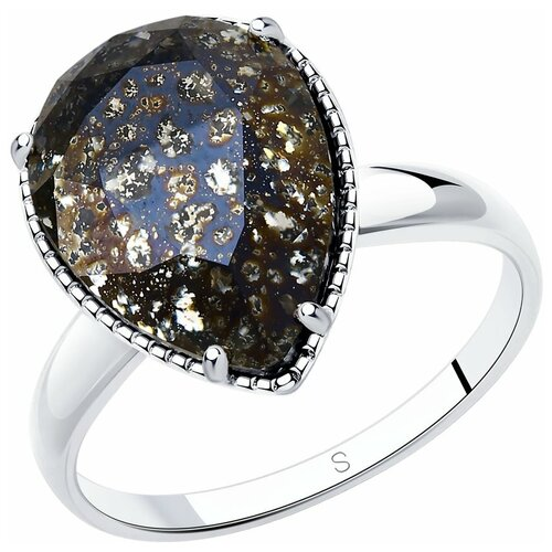 Фото - SOKOLOV Кольцо из серебра с чёрным кристаллом 94012037, размер 18 sokolov кольцо из серебра с чёрным кристаллом swarovski 94012037 размер 19 5