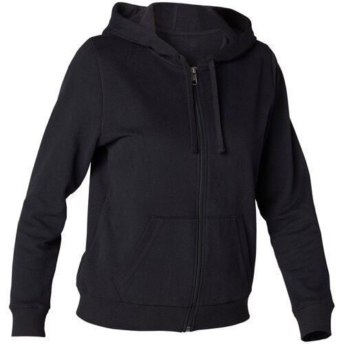 Толстовка на молнии с капюшоном утепленная для фитнеса женская черная, размер: XXL, цвет: Черный NYAMBA Х Декатлон
