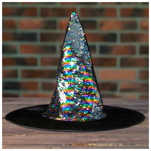 Карнавальная шляпа Конус с пайетками 4449306 карнавальная шляпа смехторг с пайетками