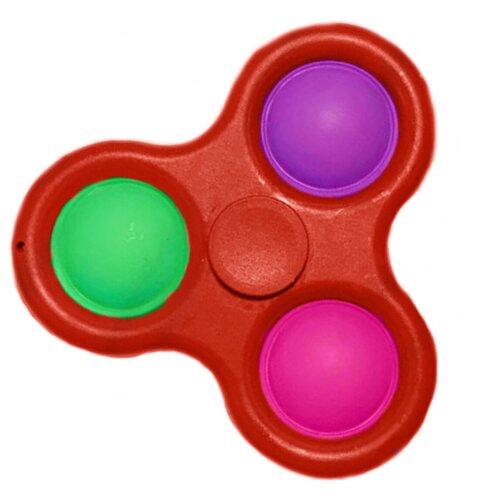 Брелок-спинер Simple Dimple 3 кнопки / Pop it Тактильная Игрушка антистресс с пузырьками / Симпл димпл пупырка сенсорная игрушка для развития моторики / Развивающая игра для детей и взрослых (Красный)