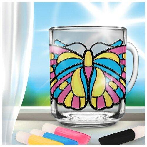 Купить Роспись кружки витражными красками Бабочка 2802706, Школа талантов, Роспись предметов