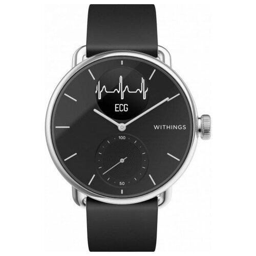 Смарт-часы с Withings ScanWatch 38mm with Silicone Band Black чёрные