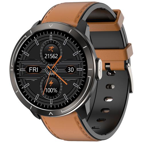 Часы Smart Watch M18plus GARSline черные (ремешок коричневая кожа)