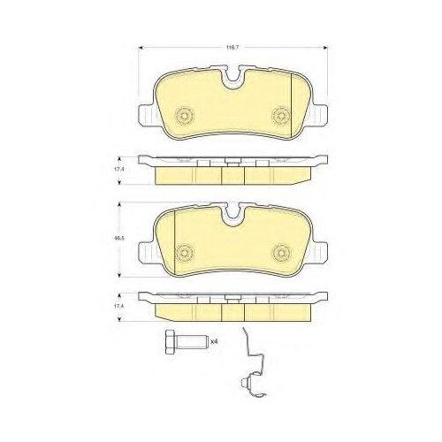 Дисковые тормозные колодки задние GIRLING 6116321 для Land Rover Range Rover, Land Rover Discovery, Land Rover Range Rover Sport брызговики задние land rover vplwp0320 для land rover range rover sport 2018