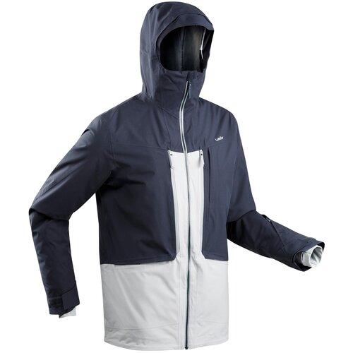 Куртка горнолыжная для фрирайда мужская темно-синяя FR 500 WEDZE Х Decathlon Темно-Синий/Перламутровый Серый S
