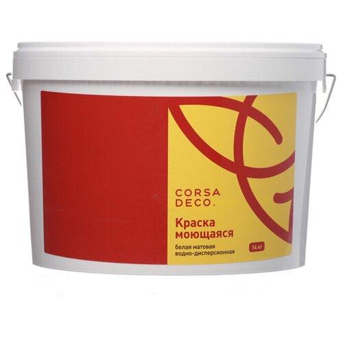 Краска акриловая Corsa Deco для стен и потолков влагостойкая моющаяся матовая белый 14 кг