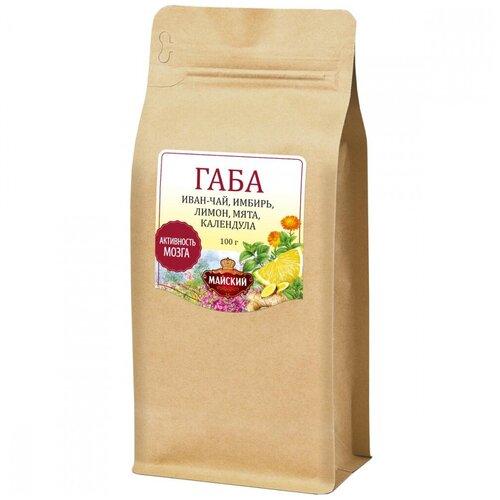 Чайный напиток МАЙСКИЙ «ГАБА иван-чай «Активность мозга» имбирь, лимон, мята, календула», 100 г чайный напиток травяной живые витамины имбирь лимон в стиках 300 г 10 шт