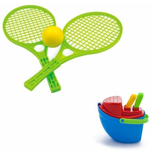 Купить Набор пляжный: Песочный набор Пароходик арт. 40-0040 + Набор для тенниса арт. 15-5055-1, Karolina toys, Наборы в песочницу